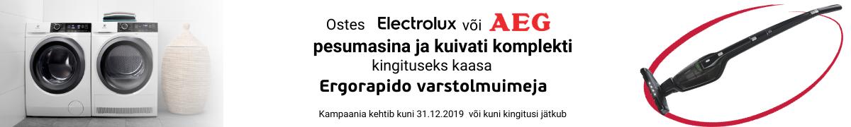 AEG või Electrolux pesutorniga Ergorapido tolmuimeja kingituseks
