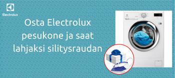 Electrolux pesukone ja saat  lahjaksi silitysraudan